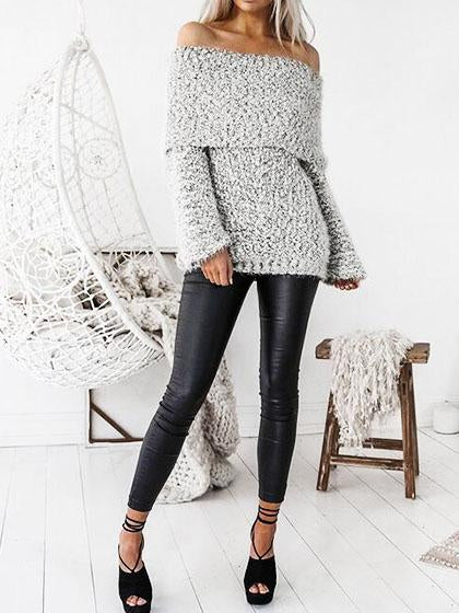 Fashion Off Shoulder Loose Sweater