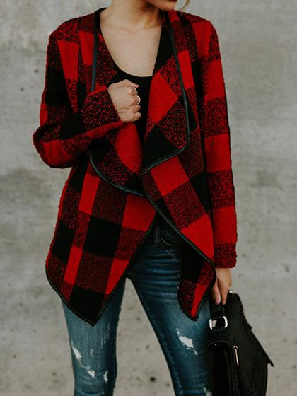 Fashion Open Collar Batwing Sleeve Gingham Oversize Cardigan - girlyrose.com