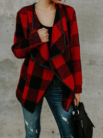 Fashion Open Collar Batwing Sleeve Gingham Oversize Cardigan