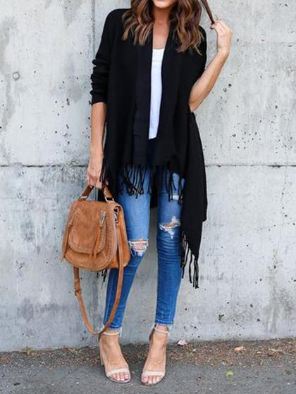Fashion Open Collar Tassels Solid Color Cardigan - girlyrose.com