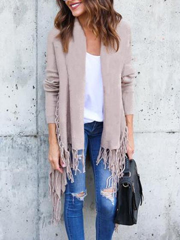 Fashion Open Collar Tassels Solid Color Cardigan