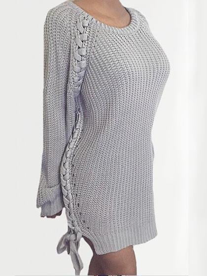 Fashion Over Size Solid Color Crochet Sweater