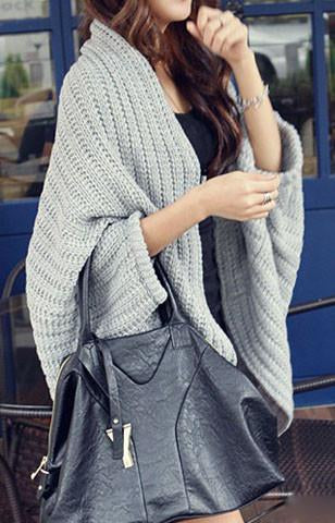 Fashion Over Size Solid Color Shawl Crochet Sweater - girlyrose.com
