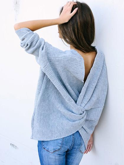 Fashion Oversize Halter Long Sleeve V Neck Solid Color Sweater