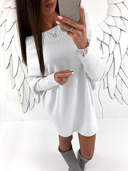 Fashion Oversize Long Sleeve Solid Color Sweater - girlyrose.com