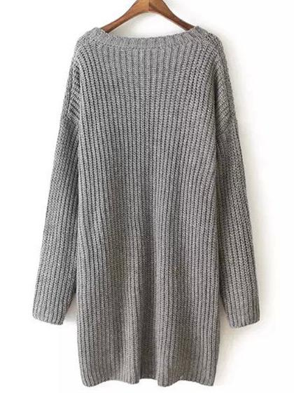 Fashion Oversize Solid Color Sweater - girlyrose.com