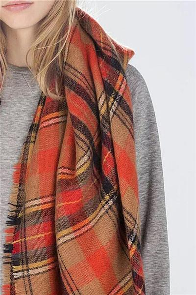 Fashion Plaid Orange Scarf - girlyrose.com