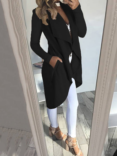 Fashion Pocket Irregular Trim Cardigan Coat