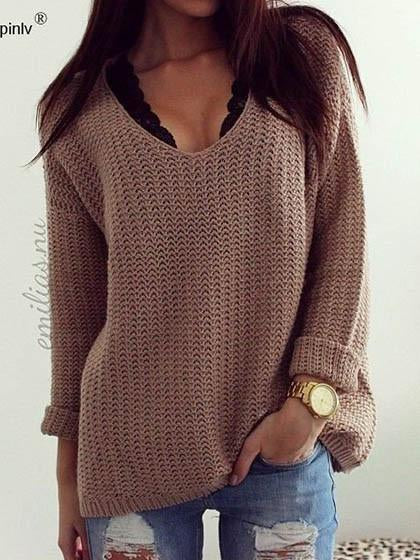 Fashion Pure Color Loose Knit Sweater - girlyrose.com