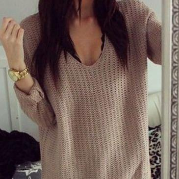 Fashion Pure Color Loose Knit Sweater