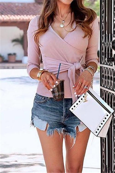 Fashion Self Tie Sweater