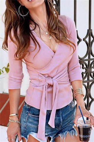 Fashion Self Tie Sweater - girlyrose.com