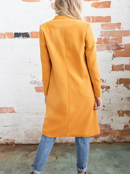 Fashion Simple Open Collar Solid Color Coat - girlyrose.com
