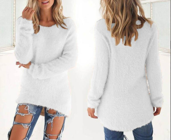 Fashion Soft Pure Color Cute Sweater - girlyrose.com