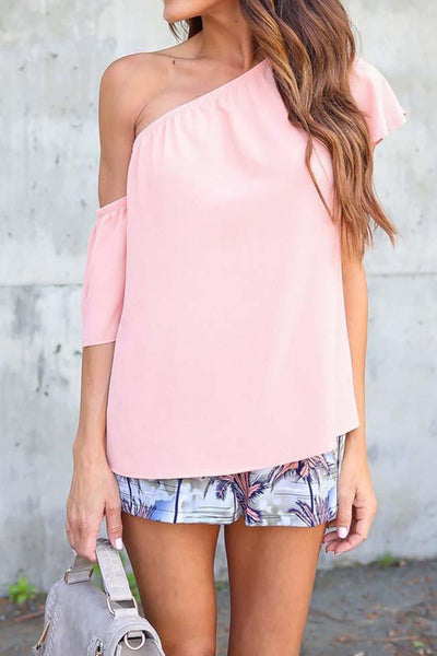 Fashion Solid Color One Shoulder Blouse - girlyrose.com