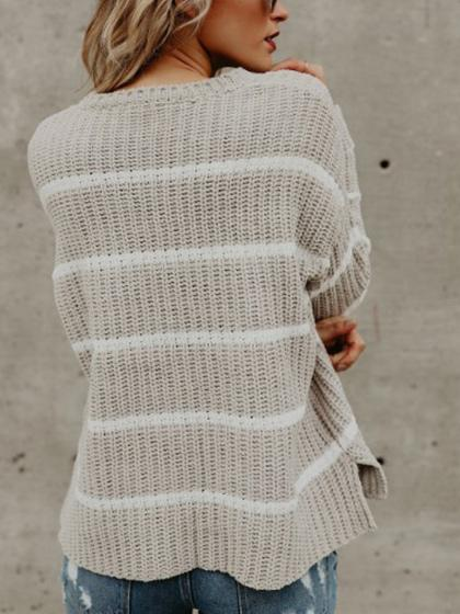 Fashion Striped Casual Sweater - girlyrose.com