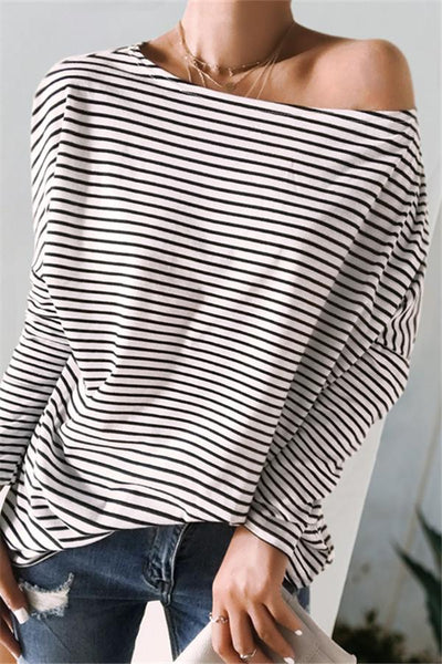 Fashion Striped Loose Sweatshirt - girlyrose.com