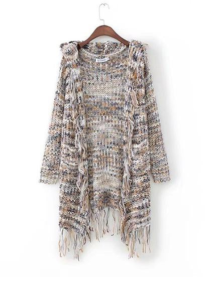 Fashion Tassels Knit Hoodie Long Sleeve Cardigan
