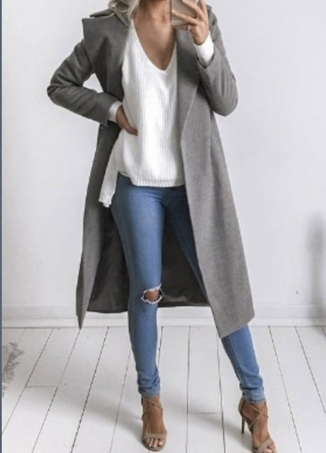 Fashion Turn Down Collar Solid Color Long Trech Coat