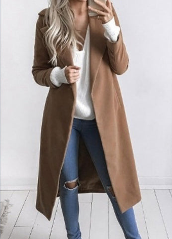Fashion Turn Down Collar Solid Color Long Trech Coat - girlyrose.com