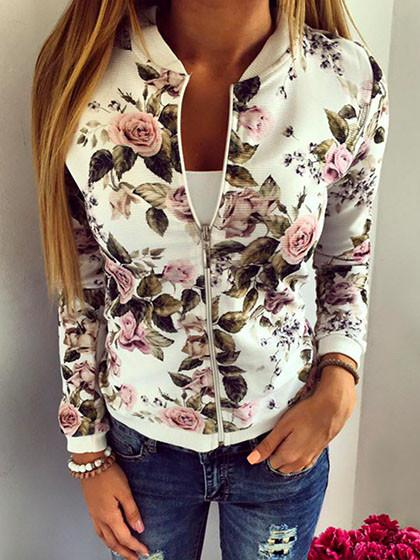 Fashion Zipper Floral Print Stand Collar Jacket