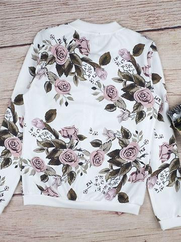 Fashion Zipper Floral Print Stand Collar Jacket - girlyrose.com
