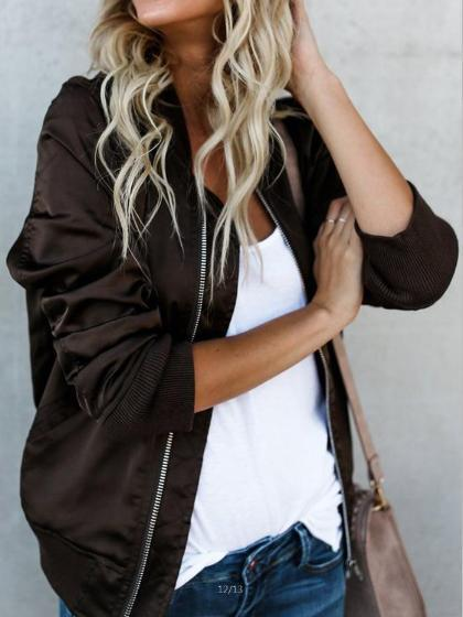 Fashion Zipper Solid Color Jacket
