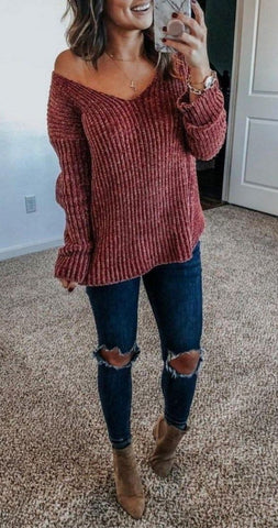 Fashionable winter deep V-neck loose comfortable Pullover knitted cashmere sweater - girlyrose.com