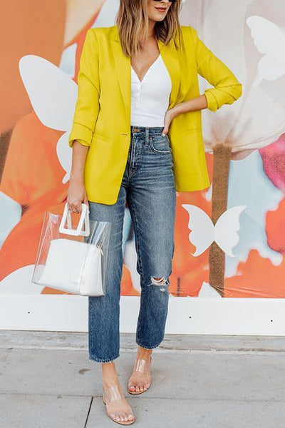 Button Lapel Yellow Blazer - girlyrose.com