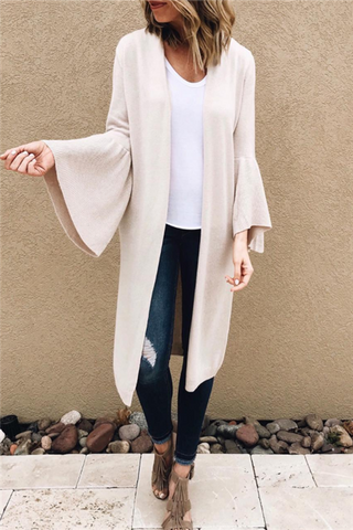 Flared Sleeve Long Cardigan