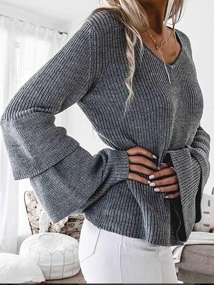 Flared Sleeve V Neck Solid Color Long Sleeve Sweaterf