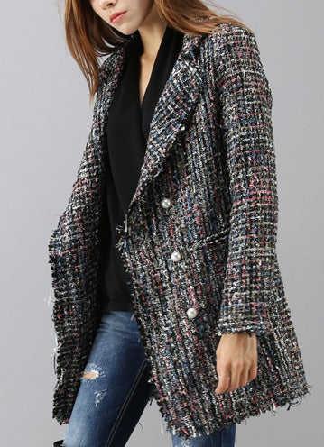 Flickering Attraction Double Breasted Tweed Coat - girlyrose.com