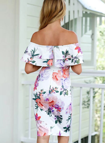 Floral off Shoulder Ruffle Short Sleeve Bodycon Pencil Dress - girlyrose.com