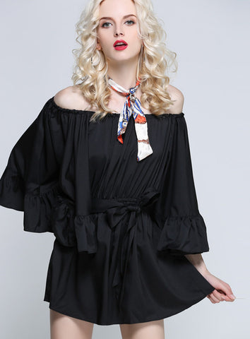 For the Frill of it Off-shoulder Playsuit in Black - girlyrose.com
