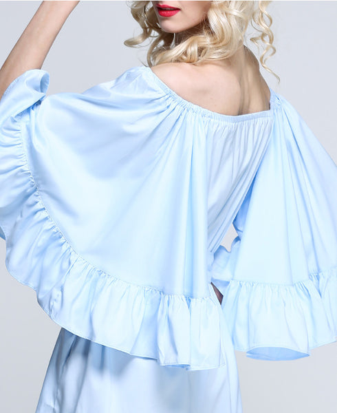For the Frill of it Off-shoulder Playsuit in White
