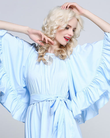 For the Frill of it Off-shoulder Playsuit in Blue - girlyrose.com