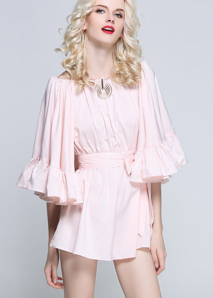 For the Frill of it Off-shoulder Playsuit in Pink - girlyrose.com