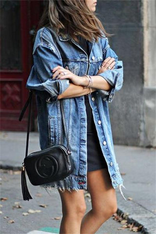 Frayed Hem Denim Jacket - girlyrose.com
