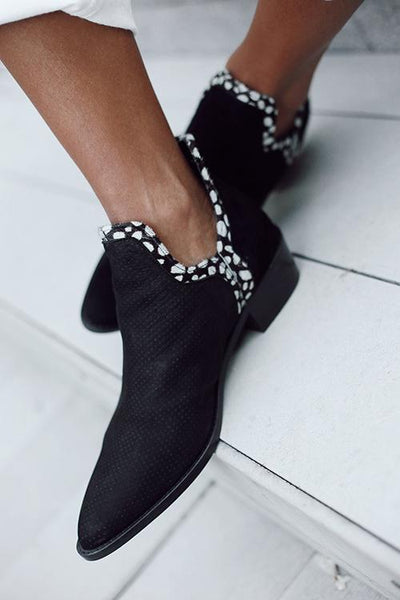 Fuzzy Low Heel Slip On Boots - girlyrose.com