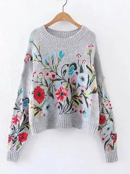 Gorgeous Embroidery Round Neckline Oversize Sweater