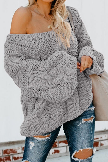 Gray Bubblegum V-Neck Braided Knit Sweater