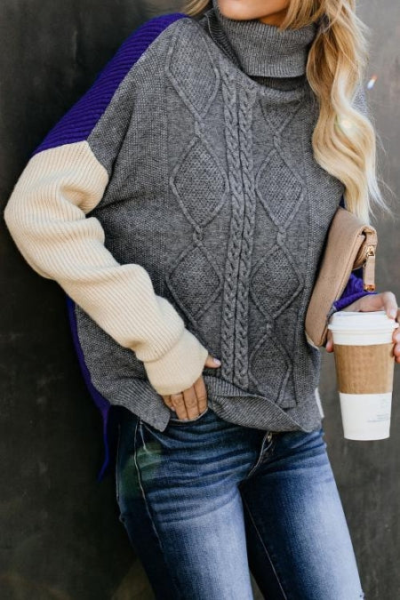 Gray Colorblock Cable Knit Sweater - girlyrose.com