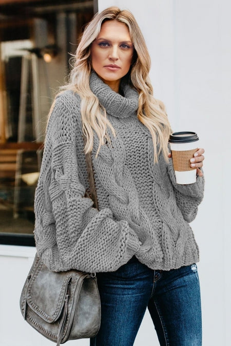 Gray Cuddle Weather Cable Knit Handmade Turtleneck Sweater - girlyrose.com