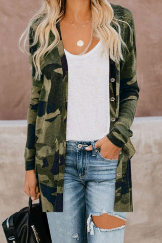 Green Camo Print Button Down Cardigan - girlyrose.com