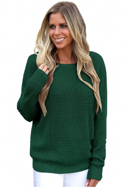 Green Cross Back Hollow-out Sweater - girlyrose.com