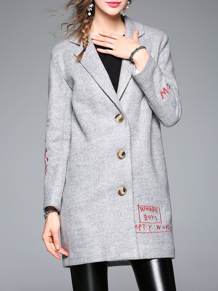 Grey Lapel Letters Embroidered Pockets Coat - girlyrose.com