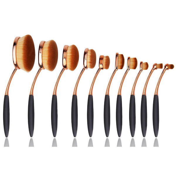 Gold Oval Makeup Brush Set - girlyrose.com