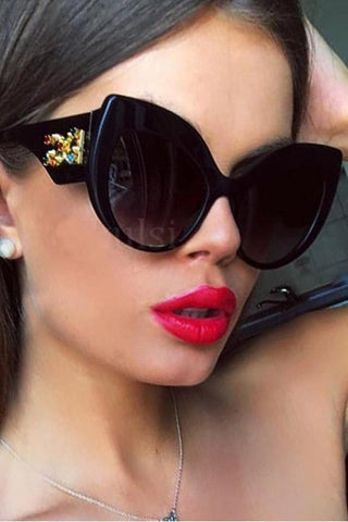 Rhinestone  Cat Eye Sunglasses - girlyrose.com