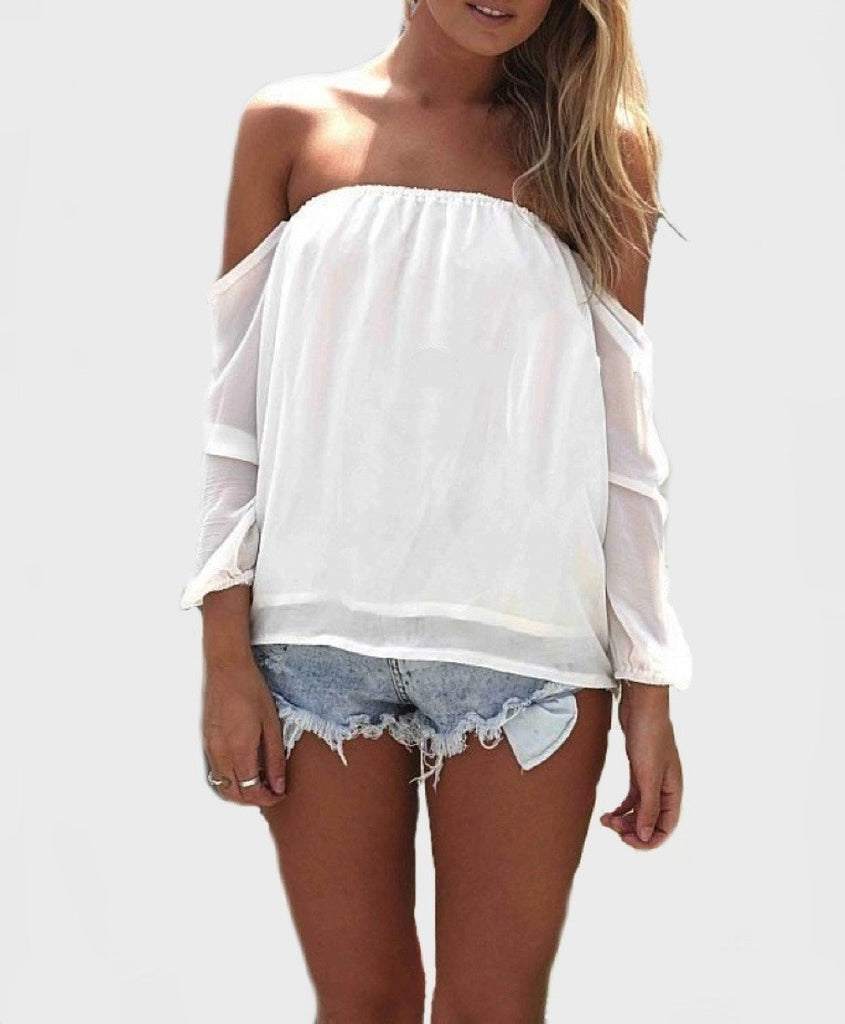 Wisteria lane off the shoulder blouse ivory restocked