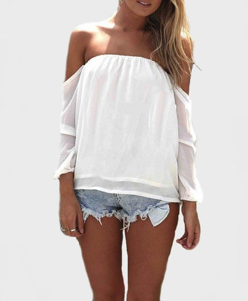 Wisteria lane off the shoulder blouse ivory restocked - girlyrose.com